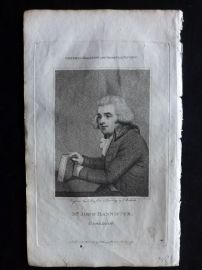 General Magazine 1792 Antique Portrait Print. John Bannister, Comedian